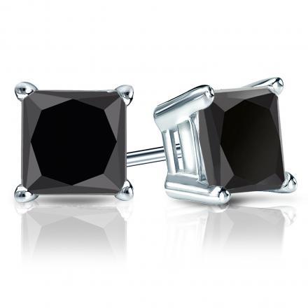 Certified 18k White Gold 4-Prong Basket Princess-Cut Black Diamond Stud Earrings 4.00 ct. tw.