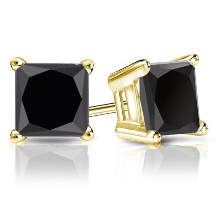 Certified 14k Yellow Gold 4-Prong Basket Princess-Cut Black Diamond Stud Earrings 4.00 ct. tw.