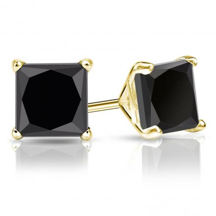 Certified 14k Yellow Gold 4-Prong Martini Princess-Cut Black Diamond Stud Earrings 4.00 ct. tw.