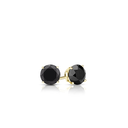 Certified 14k Yellow Gold 4-Prong Basket Round Black Diamond Stud Earrings 0.25 ct. tw.