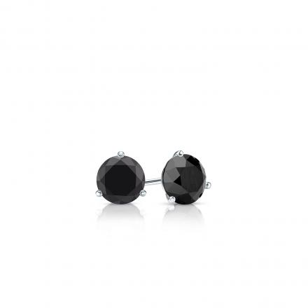 Certified 14k White Gold 3-Prong Martini Round Black Diamond Stud Earrings 0.25 ct. tw.