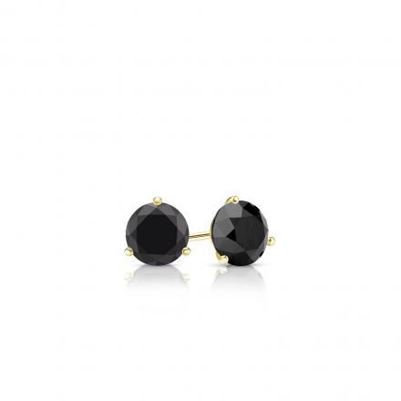 Certified 14k Yellow Gold 3-Prong Martini Round Black Diamond Stud Earrings 0.25 ct. tw.