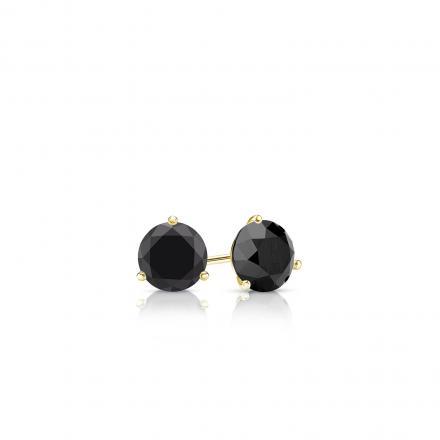 Certified 14k Yellow Gold 3-Prong Martini Round Black Diamond Stud Earrings 0.25 ct. tw.