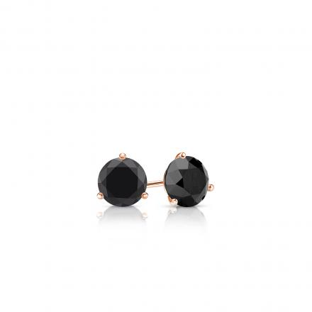 Certified 14k Rose Gold 3-Prong Martini Round Black Diamond Stud Earrings 0.25 ct. tw.