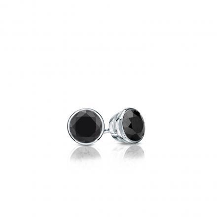 Certified 14k White Gold Bezel Round Black Diamond Stud Earrings 0.25 ct. tw.
