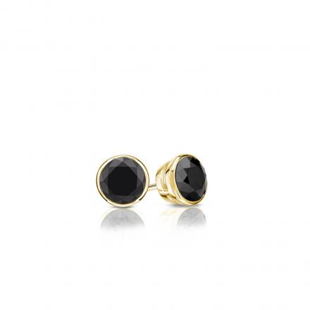 Certified 14k Yellow Gold Bezel Round Black Diamond Stud Earrings 0.25 ct. tw.