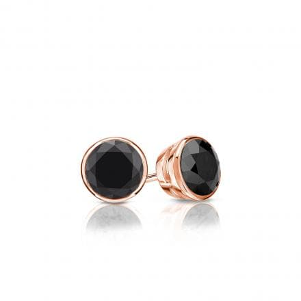 Certified 14k Rose Gold Bezel Round Black Diamond Stud Earrings 0 50 Ct Tw