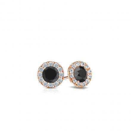 Certified 14k Rose Gold Halo Round Black Diamond Stud Earrings 0 50 Ct Tw