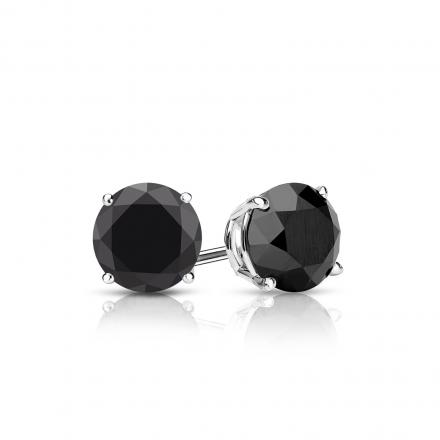Certified 14k White Gold 4-Prong Basket Round Black Diamond Stud Earrings 1.25 ct. tw. (AAA Quality)