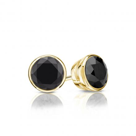 Certified 18k Yellow Gold Bezel Round Black Diamond Stud Earrings 1.00 ct. tw.