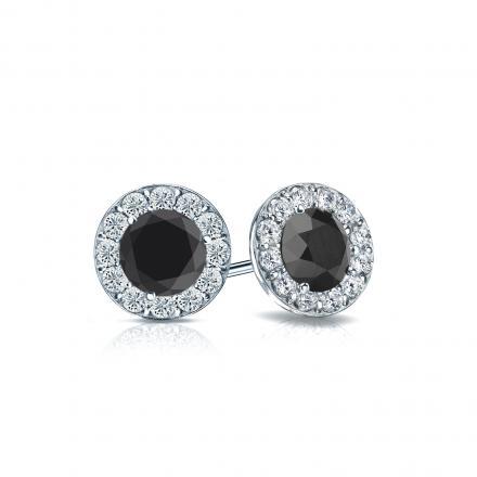 Certified 14k White Gold Halo Round Black Diamond Stud Earrings 1.00 ct. tw.