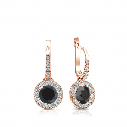 Certified 14k Rose Gold Dangle Studs Halo Round Black Diamond Stud Earrings 1.00 ct. tw.