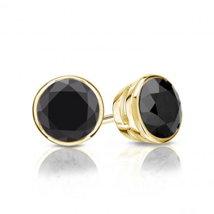 Certified 18k Yellow Gold Bezel Round Black Diamond Stud Earrings 1 50 Ct Tw