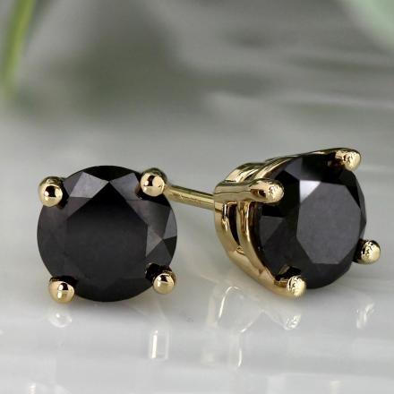 e15b6121ffb38 Certified 14k White Gold 4-Prong Basket Round Black Diamond Stud Earrings  2.00 ct. tw.