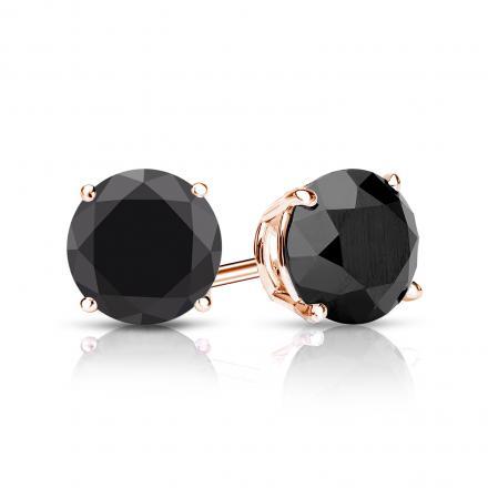Certified 14k Rose Gold 4-Prong Basket Round Black Diamond Stud Earrings 2.00 ct. tw.