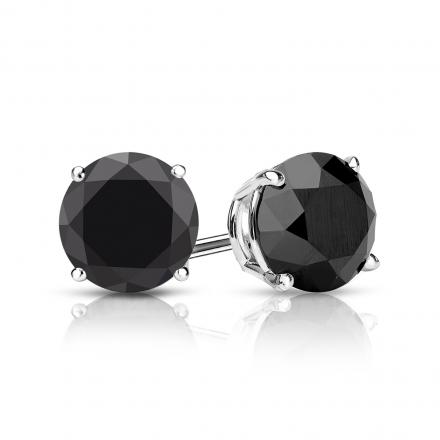 diamond black earrings tw stud round basket prong white certified ct gold pid
