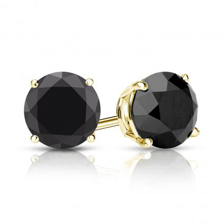 c39c88095 Certified 14k Yellow Gold 4-Prong Basket Round Black Diamond Stud Earrings  2.50 ct. tw. - DiamondStuds.com