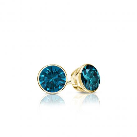 Certified 14k Yellow Gold Bezel Round Blue Diamond Stud Earrings 0.25 ct. tw. (Blue, SI1-SI2)