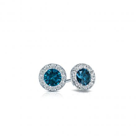 Certified 14k White Gold Halo Round Blue Diamond Stud Earrings 0.50 ct. tw. (Blue, SI1-SI2)