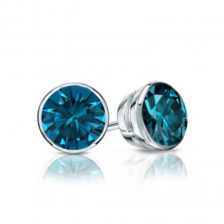 Certified 14k White Gold Bezel Round Blue Diamond Stud Earrings 0 75 Ct Tw