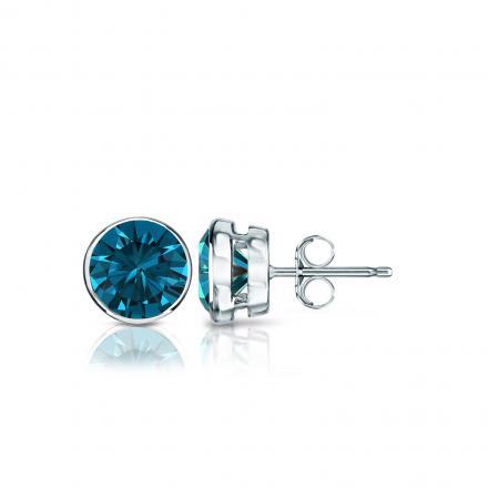 9e3c7c8f358 Certified 14k White Gold Bezel Round Blue Diamond Stud Earrings 0.75 ct.  tw. (Blue, I1-I2)