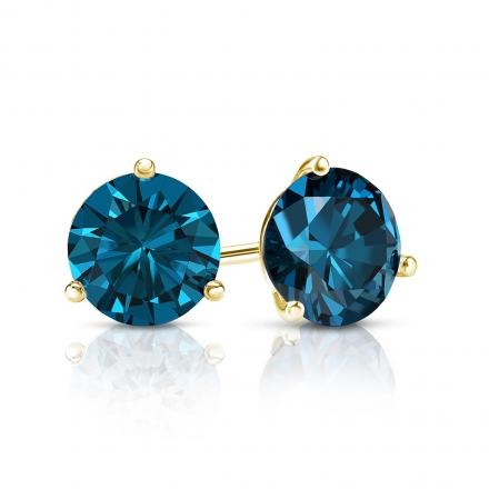 Certified 14k Yellow Gold 3-Prong Martini Round Blue Diamond Stud Earrings 1.00 ct. tw. (Blue, SI1-SI2)