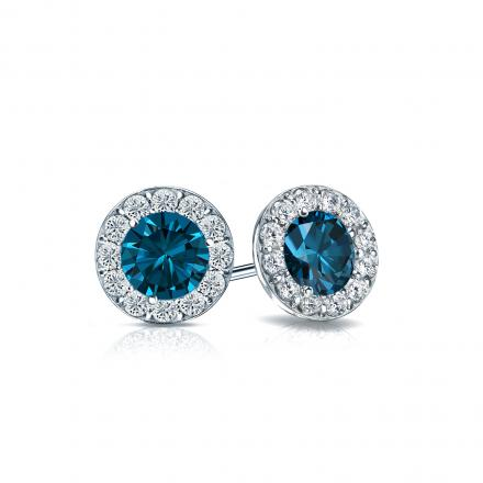 07e9fd55282 Certified 14k White Gold Halo Round Blue Diamond Stud Earrings 1.00 ct. tw.  (Blue, I1-I2)