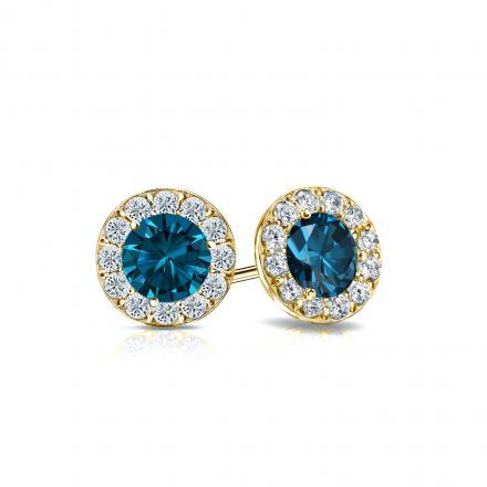 0df19243b Certified 14k Yellow Gold Halo Round Blue Diamond Stud Earrings 1.00 ct.  tw. (Blue, I1-I2) - DiamondStuds.com