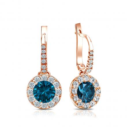 Certified 14k Rose Gold Dangle Studs Halo Round Blue Diamond Earrings 1.50 ct. tw. (Blue, SI1-SI2)