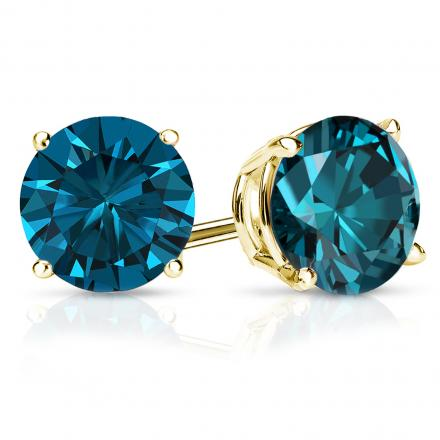 Certified 14k Yellow Gold 4-Prong Basket Round Blue Diamond Stud Earrings 2.50 ct. tw. (Blue, SI1-SI2)