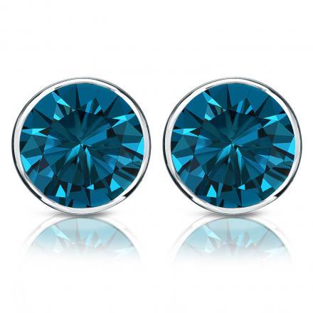 Certified 14k White Gold Bezel Round Blue Diamond Stud Earrings 2 00 Ct Tw
