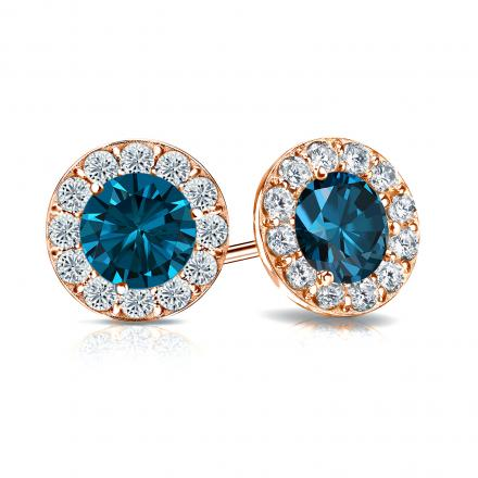 Certified 14k Rose Gold Halo Round Blue Diamond Stud Earrings 2.50 ct. tw. (Blue, SI1-SI2)
