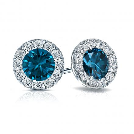 Certified Platinum Halo Round Blue Diamond Stud Earrings 2.50 ct. tw. (Blue, SI1-SI2)