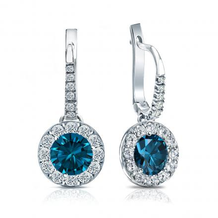 Certified 18k White Gold Dangle Studs Halo Round Blue Diamond Earrings 2.50 ct. tw. (Blue, SI1-SI2)