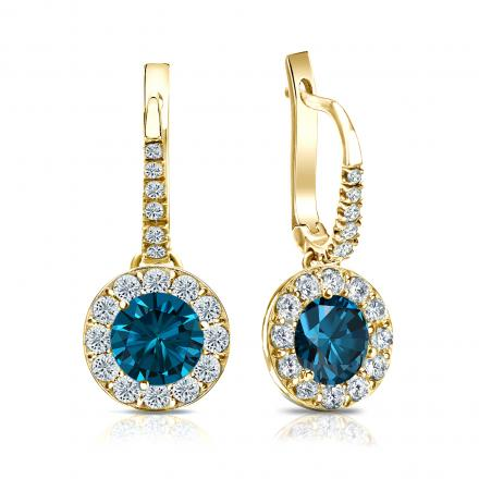 Certified 14k Yellow Gold Dangle Studs Halo Round Blue Diamond Earrings 2.50 ct. tw. (Blue, SI1-SI2)