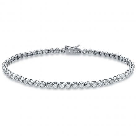 Certified 14k White Gold 4-Prong Round Diamond Tennis Link Bracelet 2.00 ct. tw. (H-I, I1-I2)