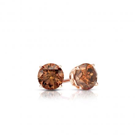 Certified 14k Rose Gold 4-Prong Basket Round Brown Diamond Stud Earrings 0.25 ct. tw.  (Brown, SI1-SI2)