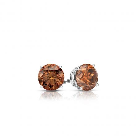 Certified 18k White Gold 4-Prong Basket Round Brown Diamond Stud Earrings 0.25 ct. tw.  (Brown, SI1-SI2)