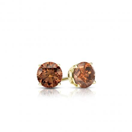 Certified 18k Yellow Gold 4-Prong Basket Round Brown Diamond Stud Earrings 0.25 ct. tw.  (Brown, SI1-SI2)