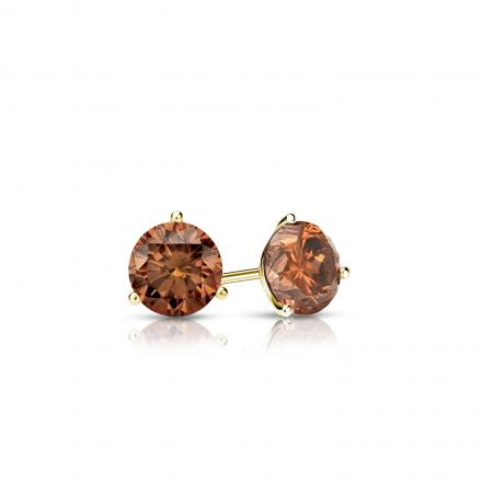 Certified 18k Yellow Gold 3-Prong Martini Round Brown Diamond Stud Earrings 0.25 ct. tw.  (Brown, SI1-SI2)