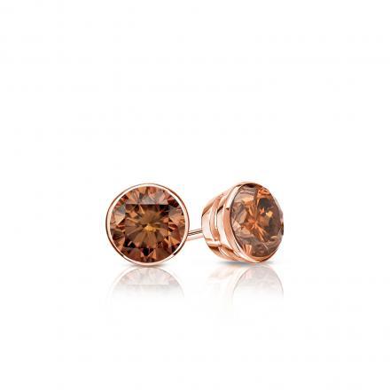 Certified 14k Rose Gold Bezel Round Brown Diamond Stud Earrings 0.25 ct. tw.  (Brown, SI1-SI2)