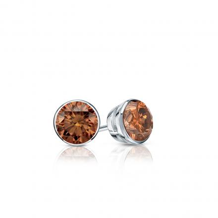 Certified 18k White Gold Bezel Round Brown Diamond Stud Earrings 0.25 ct. tw.  (Brown, SI1-SI2)