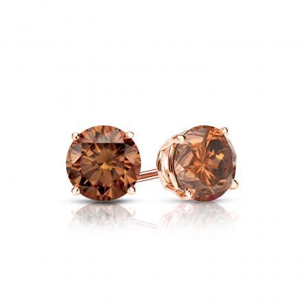 Certified 14k Rose Gold 4-Prong Basket Round Brown Diamond Stud Earrings 0.50 ct. tw. (Brown, SI1-SI2)