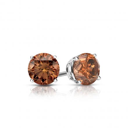Certified 14k White Gold 4 G Basket Round Brown Diamond Stud Earrings 0 50 Ct