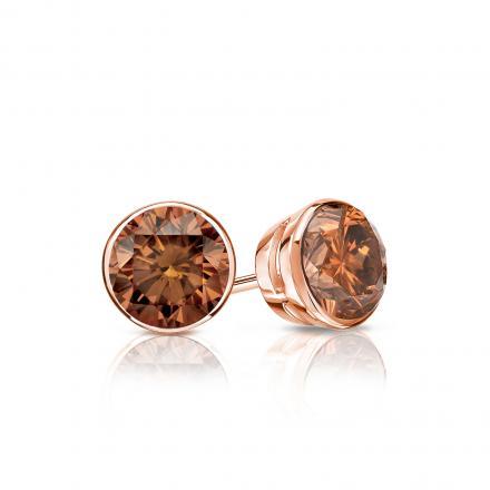 Certified 14k Rose Gold Bezel Round Brown Diamond Stud Earrings 0.50 ct. tw. (Brown, SI1-SI2)