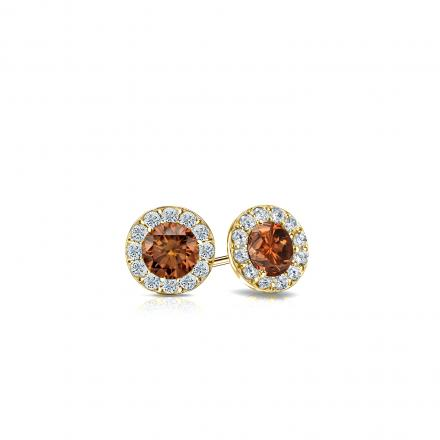 Certified 18k Yellow Gold Halo Round Brown Diamond Stud Earrings 0.50 ct. tw. (Brown, SI1-SI2)