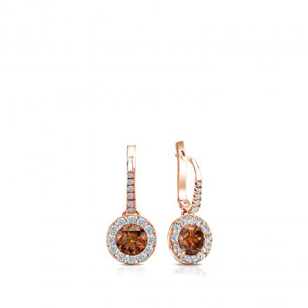 Certified 14k Rose Gold Dangle Studs Halo Round Brown Diamond Earrings 0.50 ct. tw. (Brown, SI1-SI2)