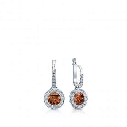 Certified 14k White Gold Dangle Studs Halo Round Brown Diamond Earrings 0.50 ct. tw. (Brown, SI1-SI2)