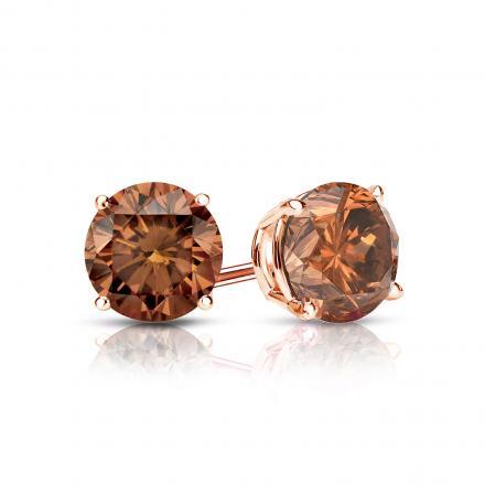 Certified 14k Rose Gold 4-Prong Basket Round Brown Diamond Stud Earrings 0.75 ct. tw. (Brown, SI1-SI2)