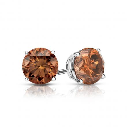 Certified 18k White Gold 4-Prong Basket Round Brown Diamond Stud Earrings 0.75 ct. tw. (Brown, SI1-SI2)